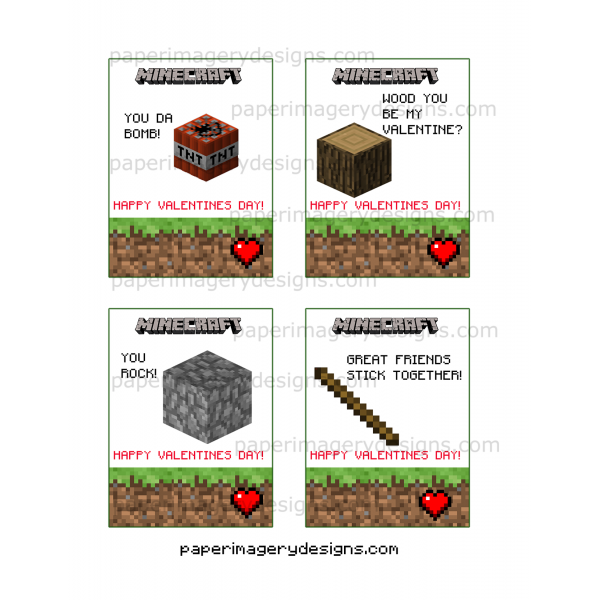 Minecraft Valentines Day Cards 2 for $5.00 | Valentines Day Cards
