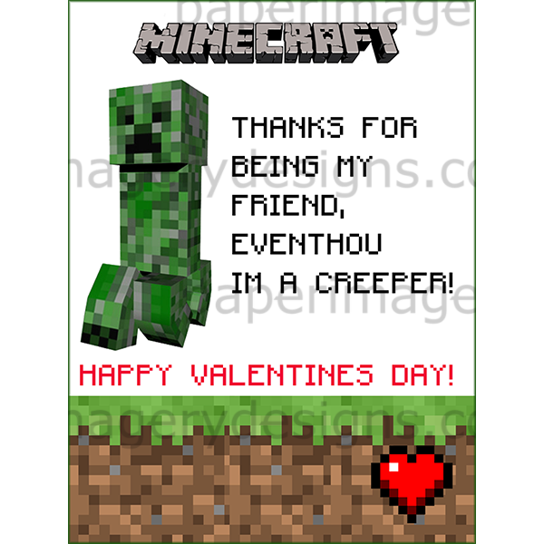 Minecraft Valentines Day Cards 1 For 5 00 Valentines Day Cards