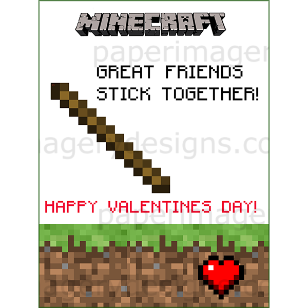 Minecraft Valentines Day Cards 2 For 5 00 Valentines Day Cards